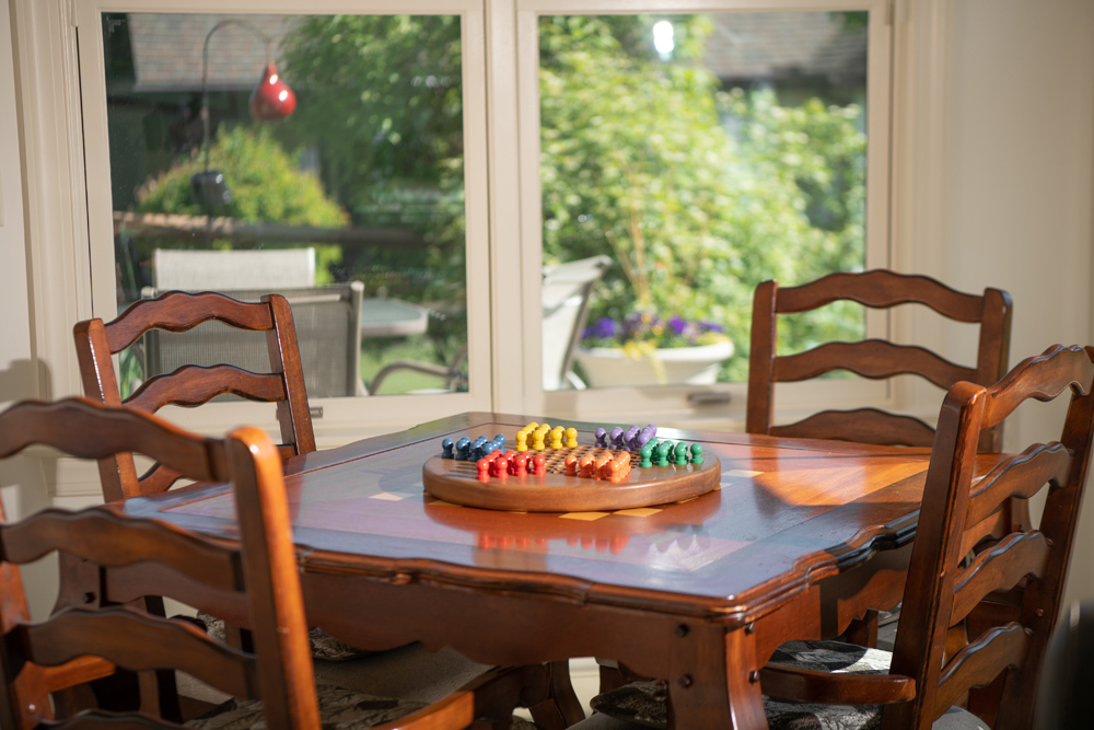 Table with game on top