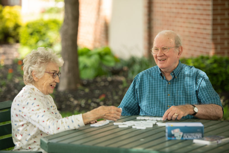 Residents playing dominoes