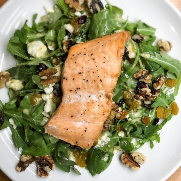 Plate of salmon and greens